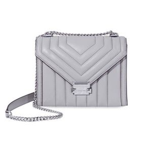Michael Kors Whitney Quilted Leather Shoulder Grey